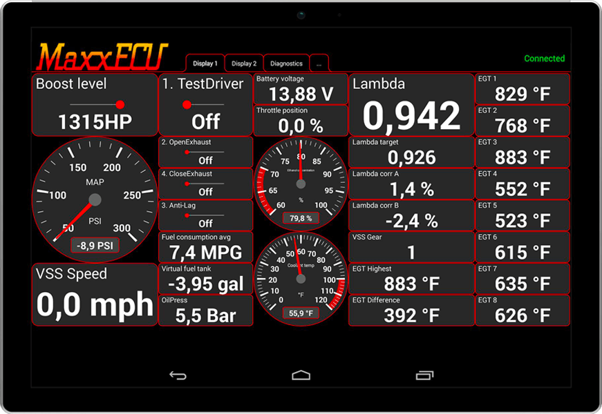 MaxxECU MDash - Android app for real-time data monitoring