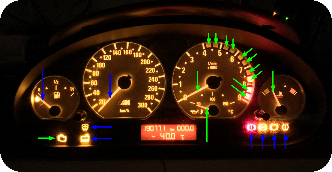 E46 Dashboard Warning Lights Diagram
