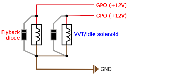 flyback diode wiring (with low driving (gnd) maxxecu outputs)